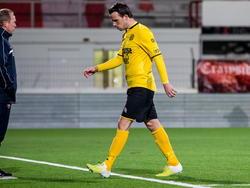Roda JC-speler Anco Jansen moet met rood van het veld. (13-03-2015)