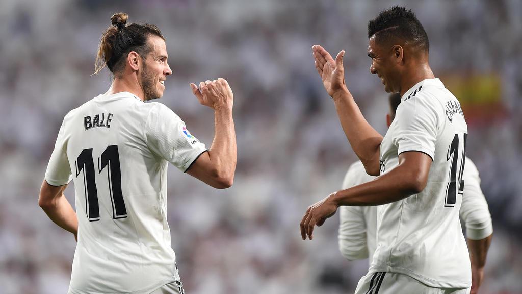 Gareth Bale (l.) brachte Real Madrid früh auf die Siegerstraße