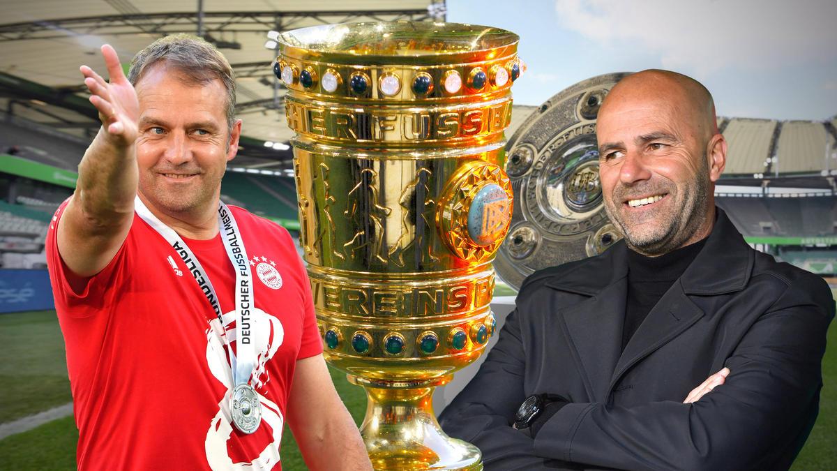 Hansi Flick (l.) und Peter Bosz greifen nach dem DFB-Pokal