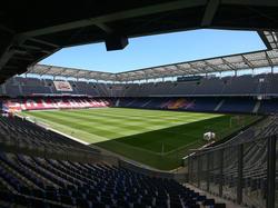Die Red-Bull-Arena zu Salzburg wird für die nationalen Bewerbe optisch verkleinert
