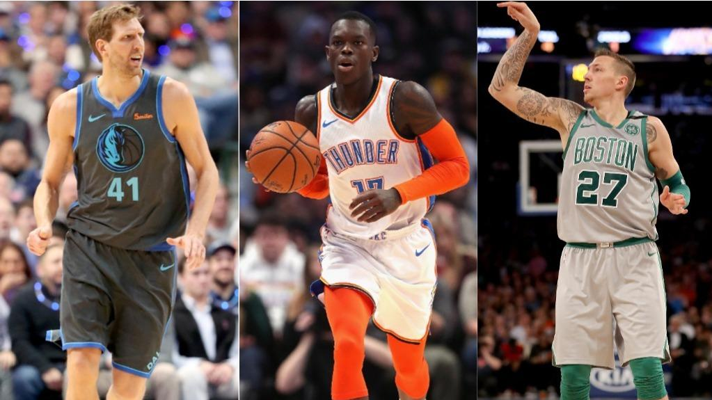 Nowitzki (l.), Schröder (m.) und Theis (r.) spielen in der NBA