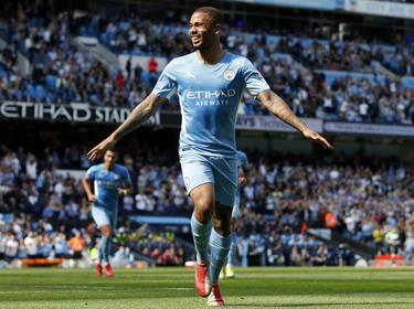 Gabriel Jesus celebra un gol con el City.