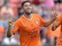 Brisbanes Brandon Borello scores the only goal vs Western Syndney