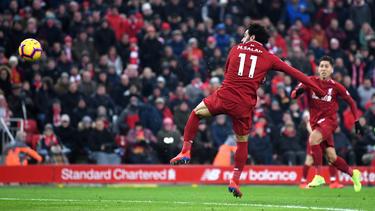 Salah brilló con un doblete y llegó a 50 goles en 72 partidos de Premier. (Foto: Getty)