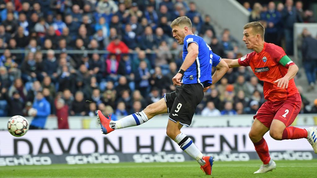 Fabian Klos erzielte für Arminia Bielefeld die Führung zum 1:0