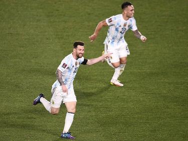 Messi celebra su gol que abrió el marcador.
