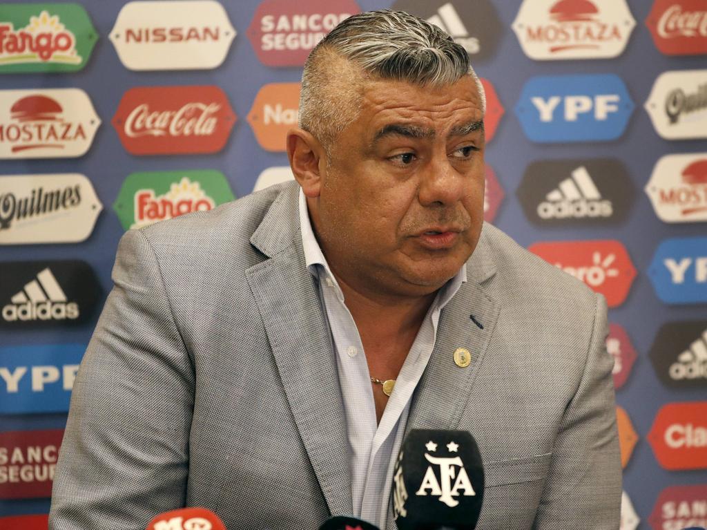 Claudio Tapia en rueda de prensa.