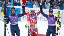 Das Podest des Wengen-Slaloms