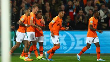 Die Niederländer feiern den 3:1-Sieg daheim gegen Nordirland