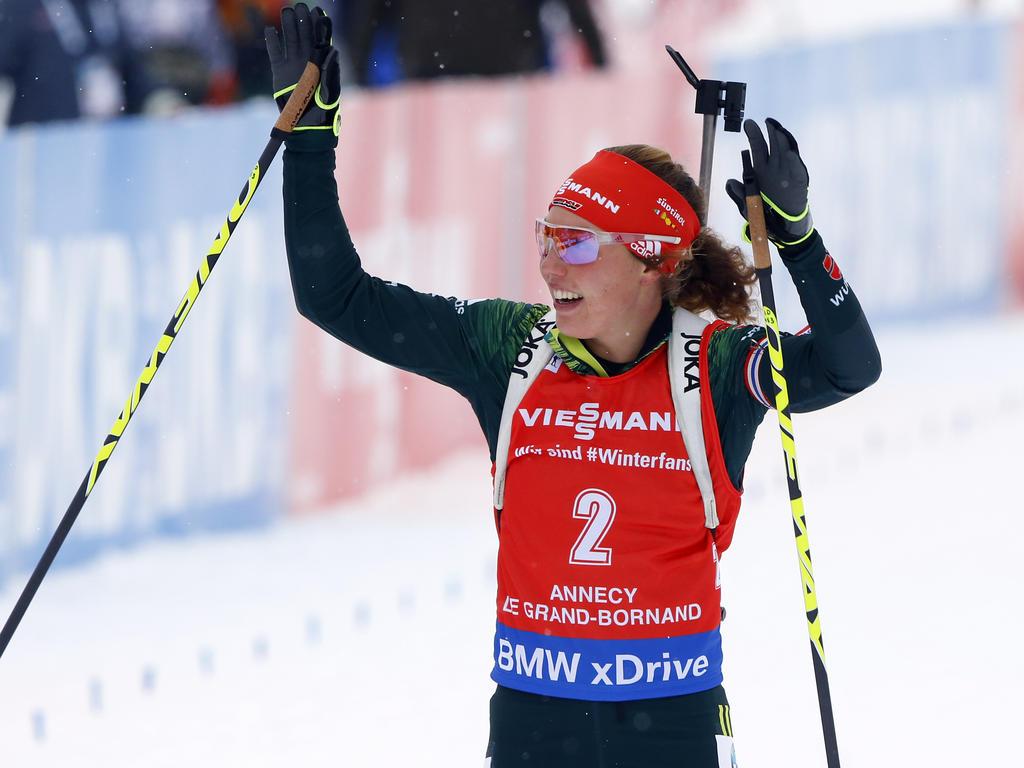 Laura Dahlmeier und die deutsche Biathlon-Staffel feierten den Sieg in Ruhpolding