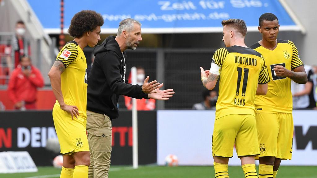 Marco Rose (2.v.l.) kehrt mit dem BVB nach Gladbach zurück