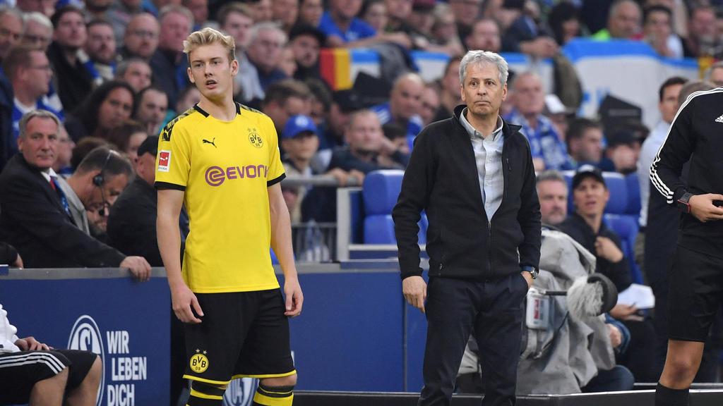 BVB-Coach Lucien Favre sieht keine Chance für einen Einsatz von Julian Brandt (l.)