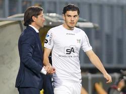Mihai Roman (r.) gaat zijn debuut maken in de Eredivisie. De Roemeense spits van NEC krijgt van trainer Ernest Faber een kans tegen Roda JC. (12-09-2015)