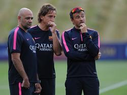 Luis Enrique, tecnico del Barça, e parte dello staff tecnico