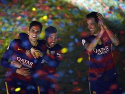 Marc Batra, Jordi Alba und Sergio Busquets (v.l.n.r.) spielten gemeinsam für Barcelona