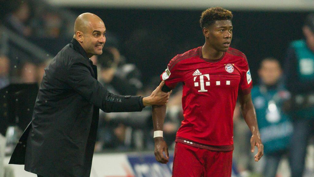 Pep Guardiola (l.) und David Alaba arbeiteten schon in München erfolgreich zusammen