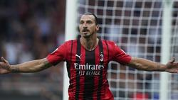 Kaum zurück erzielt er wieder Tore: Zlatan Ibrahimovic vom AC Mailand jubelt nach einem Treffer