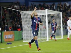 Lucas is blij met zijn treffer tijdens het competitieduel AS Saint-Étienne - Paris Saint-Germain (25-10-2015).
