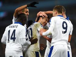 Shinji Okazaki (M.) hat bei Leicester City meist die Rolle des Nebendarstellers