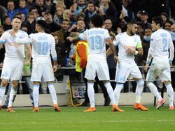 Los jugadores del Marsella celebran la goleada a los vascos. (Foto: Imago)