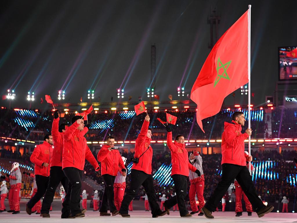 Samir Azzimani trug die marokkanische Flagge bei der Eröffnungsfeier