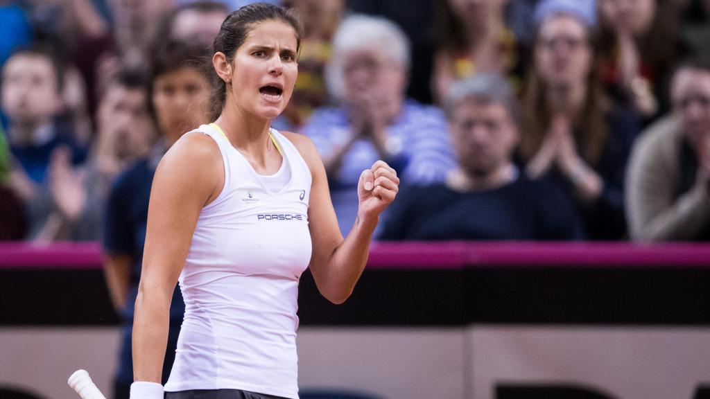Julia Görges feierte den Sieg über Lettland genau wie ihre Kolleginnen