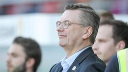 DFB-Präsident Reinhard Grindel beim Besuch eines Spiels der DFB-Frauen 2018 gegen Tschechien