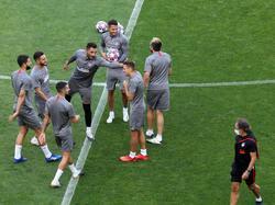 Último entrenamiento de los colchoneros en Lisboa.