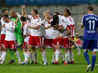 Die Spieler von RB Leipzig haben wieder was zu feiern