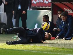 Inter-Coach Roberto Mancini bekam den Ball voll ins Gesicht