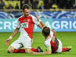 Valère Germain (l.) traf doppelt für Monaco.