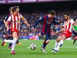 Lange Zeit war für Messi gegen Almerías Defensive kein Durchkommen