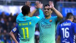 Neymar und Suárez (r.) stürmten schon in Barcelona gemeinsam