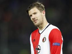 Invaller Michiel Kramer krijgt in de slotfase van Feyenoord-Zorya Lugansk nog speeltijd. (20-10-2016)