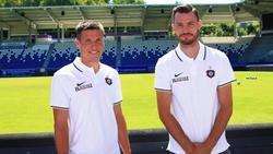 Die beiden Neuen des FC Erzgebirge Aue: Gaëtan Bussmann (l.) und Florian Ballas