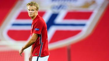 Erling Haaland erzielte sein erstes Länderspieltor