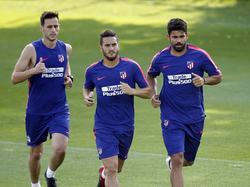 Nikola Kalinic, Koke y Diego Costa en un entrenamiento reciente. (Foto: Imago)