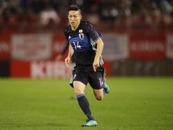 Yuki Kobayashi krijgt speelminuten tijdens de oefeninterland Japan - Oman (11-11-2016).
