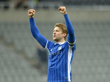 Glenn Loovens kan juichen tijdens het competitieduel Newcastle United - Sheffield Wednesday (26-12-2016).
