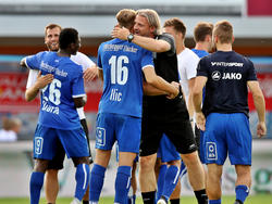 Der TSV Hartberg bejubelt seinen ersten Bundesligasieg