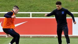 """Declan Rice von West Ham United (l.) und Jadon Sancho vom BVB sollen auf einer """"Einkaufsliste"""" von Manchester United stehen"""