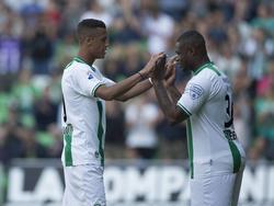 Genero Zeefuik en Richairo Živković namens FC Groningen tijdens de wedstrijd FC Groningen AZ. (18-05-14)