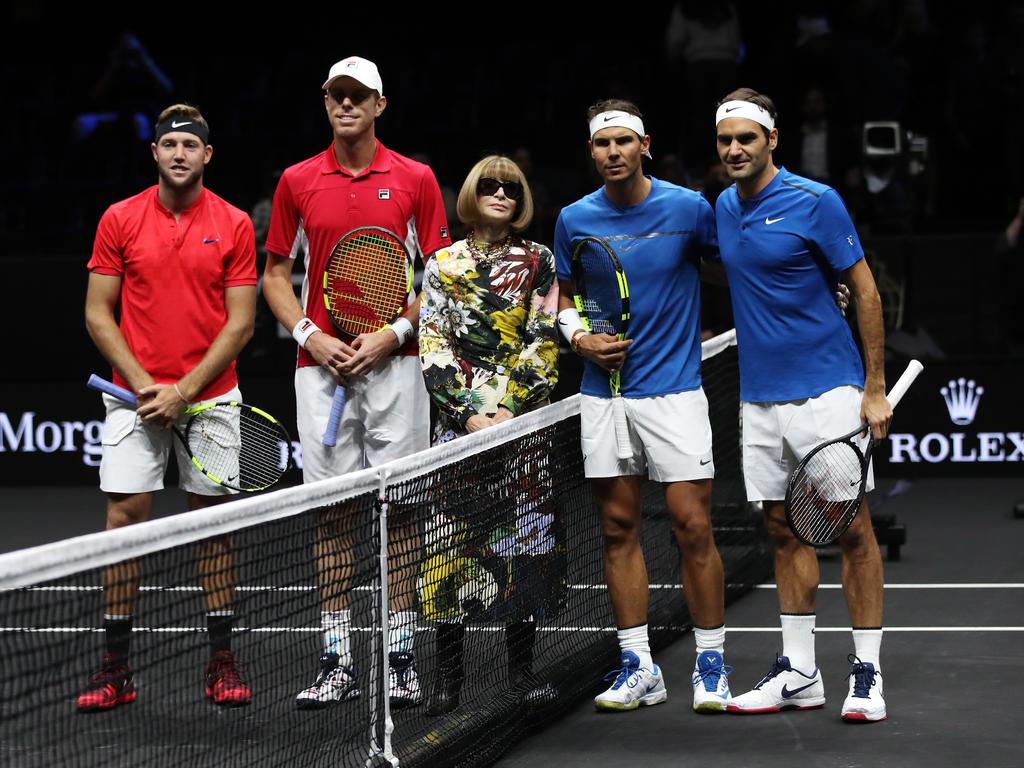 Rafael Nadal und Roger Federer bei ihrem Doppel in Prag