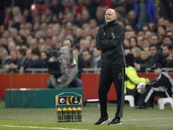 Ståle Solbakken, trainer van FC Kopenhagen, stuurt zijn manschappen aan in het duel met Ajax. (16-03-2017)
