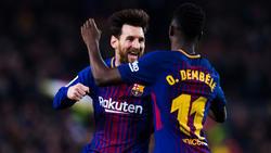 Lionel Messi (li.) hat unter anderem über Ousmane Dembélé (re.) gesprochen