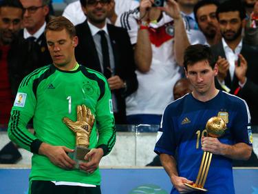 Manuel Neuer y Lionel Messi tras la final del Mundial de Brasil. (Foto: Getty)