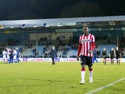 Teleurgesteld loopt Elvio van Overbeek van het veld in de Doetinchemse Vijverberg. Jong PSV verliest van De Graafschap in de Jupiler League. (13-03-2015)