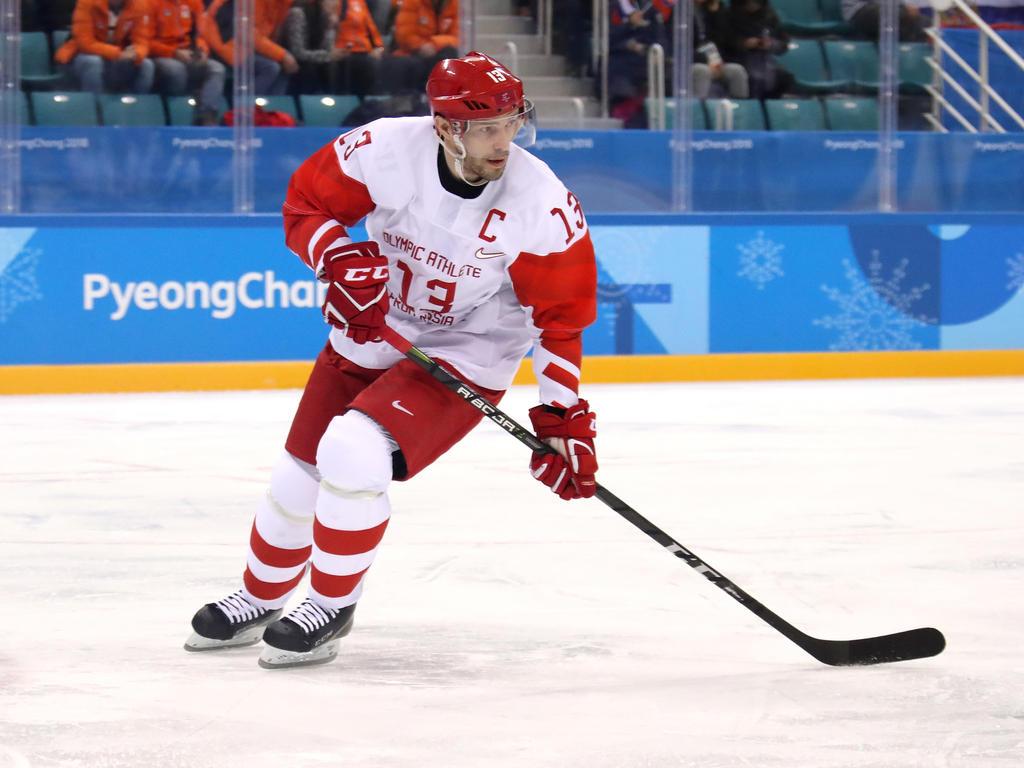 Pavel Datsyuk steht mit dem Team der Olympischen Athleten aus Russland im Viertelfinale