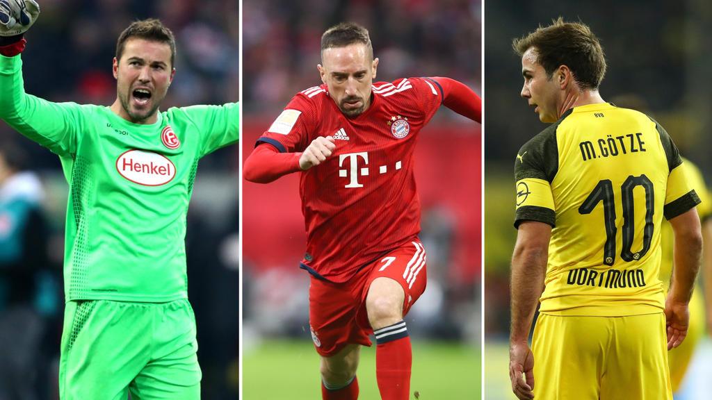 Franck Ribéry (m.) und Mario Götze konnten am 17. Spieltag glänzen