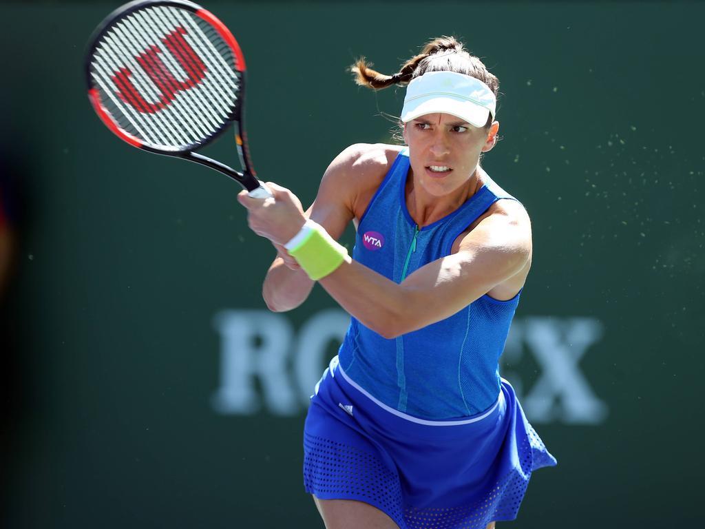 Andrea Petkovic spielt beim Auftaktmatch der FedCup-Playoffs gegen Jelena Ostapenko